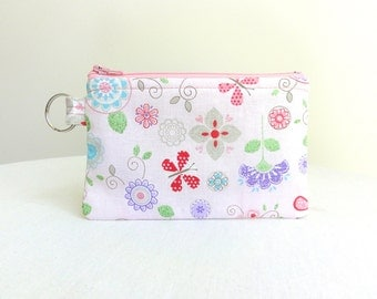Pale Pink Butterfly Garden Zippered Bag / Coin Purse / ID Case / Gadget Pouch with Split Ring - Ready to Ship