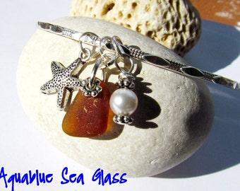 GENUINE Brown Sea Glass Bangle Bracelet From Puerto Rico Sea Glass Bangle  Beach Jewelry Bride Gift Bridemaids Gift Wedding  FREE SHIPPING