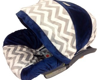 Ritzy Baby Chevron Grey and Navy Minky, Boy Car Seat Covers, Baby Car Seat Covers for boy, Includes a strap set