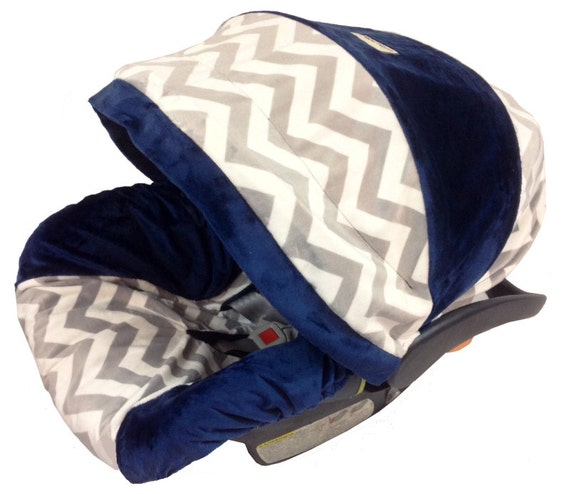 Navy Minky Infant Car Seat Cover Boy Car Seat By