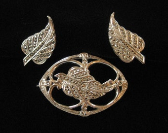 Art Nouveau Silver Tone Marcasite Brooch and Earrings Set
