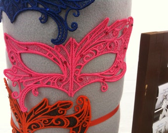 Bubblegum Pink Lace and Rhinestone Asymmetrical Adult Masquerade Mask