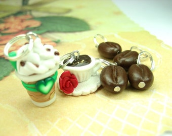Coffee Stitch Markers coffee charms coffee cup cappuccino coffee lover gift knitter knitting accessories polymer clay iced coffee beans knit