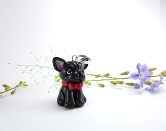 Black French Bulldog Necklace - dog jewelry, bulldog,miniature animal dog