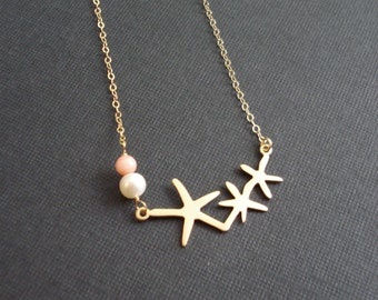 Starfish Necklace In Gold Or Silver Three Sisters Starfish With Coral And Pearl Necklace Starfish Pendant Beach Wedding Bridesmaid Jewelry