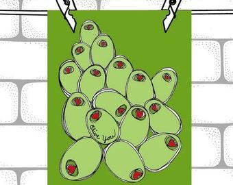 Olive You - 8 x 10 Art Print - Olive Illustration Print - Green & Red Olives