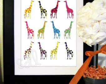 PRINTABLE PDF Instant Download Giraffes Pop Art Print