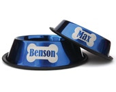 Dog Bowl Engraved - Metallic Blue - Personalized Stainless Steel Dog Bowl - Bone - Custom - with name