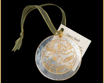 24k Gold Translucent Capiz Shell Ornament With Starburst Design