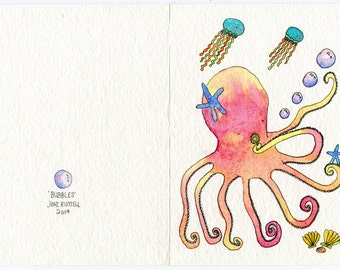 Bubbles, hand painted greeting card, original watercolor