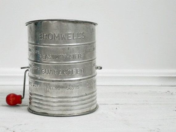 Antique Flour Sifter, Rustic Kitchen, Bromwells Sifter, Red, Shabby Chic Kitchen