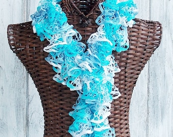 SALE Ruffle scarf knitted in white and blues, fashion accessory for women