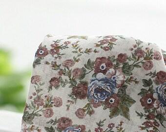 Lovely blue roses on beige Gauze Cotton 144cm WIDE, U018