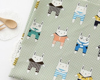 Lovely Rabbit Friends on Green cotton, U140