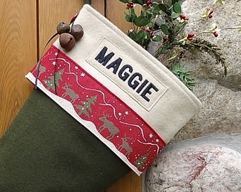 Reindeer Christmas Stocking with Embroidered Personalization
