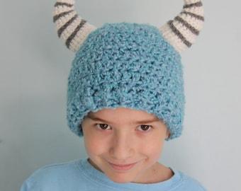 Blue Monster Hat, Fuzzy Blue Beanie, Winter Hat, Halloween, Costume, Horn Hat,