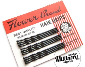 Card of 12 Black 'Flower Brand' Vintage Style Bobby Pins / Hair Grips 1.75 Inch (4.5cm)