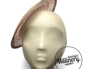 Large Round Latte Brown Saucer Sinamay Fascinator Hat Base for Millinery