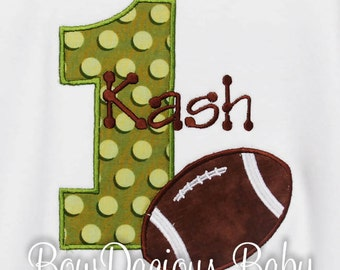 Personalized Birthday Football Number, Monogrammed, Custom Birthday Boy, Shirt,Tank,Bodysuit,Sizes 3 months up to 12 years,Gift