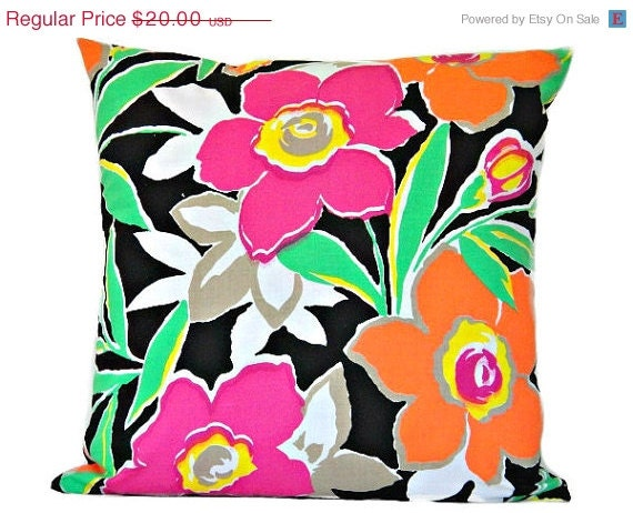 CHRISTMAS IN JULY Floral Pillow Cover Retro Neon Tropical Fuchsia Tangerine Lime Green Yellow White Black Decorative 16x16