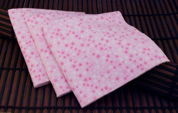 Medium Flankie - Pink with Pink and White Stars Flannel Handkerchiefs - Set of 3