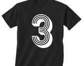 3rd BIRTHDAY -- KIDS T shirt -- soccer number 3 Size 2t, 3t, 4t, youth xs, yth sm, yth med, yth lg ( 7 COLORS ) skip n whistle