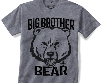 BIG BROTHER BEAR -- Kids T shirt -- (7 color choices) Size 2t, 3t, 4t, youth xs, yth sm, yth med, yth lg skip n whistle
