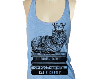 CAT SHIRT Crown Tank Top shirt - Tri-Blend Tank workout cat tank - 8 color options Available in sizes S, M, L skip n whistle