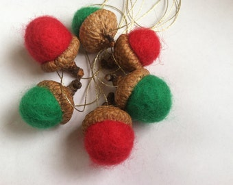 Holiday Red and Green Felted Acorn Ornaments -Set of 6 - Natural Woodland Christmas Holiday Season