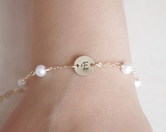 Personalized Initial Disc Swarovski Crystal Birthstone Bracelet, Stamped Disc Custom Pearl Bracelet, Gifts For Girls, Gifts For New Baby
