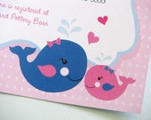 Pink and Navy Blue Nautical Invitations, Baby Shower, Birthday PRINTED Invitations