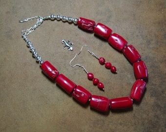 Red Coral,.925 Silver Necklace and Earrings