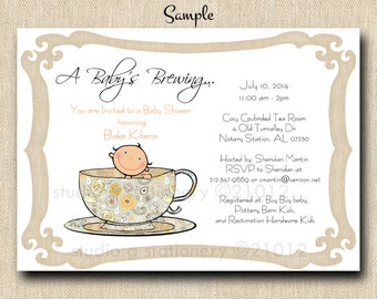 Tea for Two or Baby's Brewing Baby Shower Invitations - PRINTED INVITATIONS - Sold in packs of 10 includes envelope