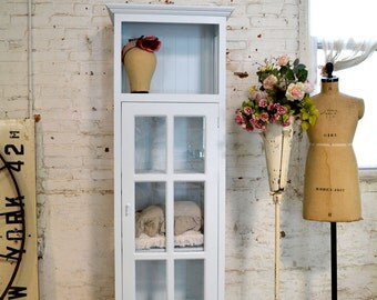 Painted Cottage Chic Shabby Chateau Farmhouse Linen Cabinet CC46