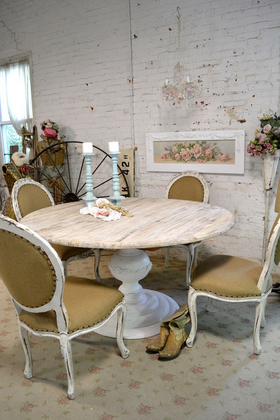 Items similar to painted cottage chic shabby french linen for Painted round dining table and chairs