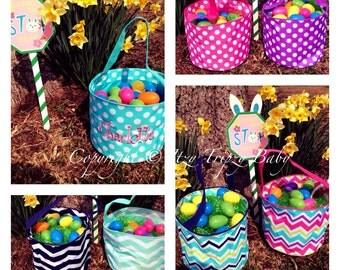 Kids Monogrammed Easter Basket. Personalized. Chevron. Polka dot. Boys and girls Easter bucket