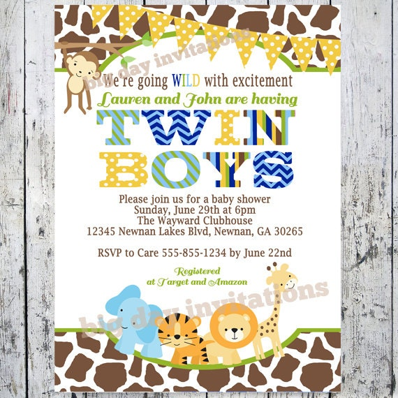 twin boys safari baby shower invitations by bigdayinvitations, Baby shower