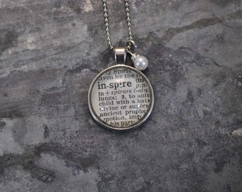 One Word Vintage Dictionary Necklace- INSPIRE