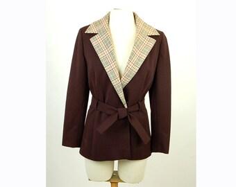 1970s blazer, 1970s jacket, brown blazer, plaid jacket, knit blazer, Doncaster, belted jacket, belted blazer, long blazer, Size M