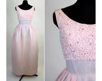 1960s gown formal pale pink soutache ribbon trim rhinestones Size S/M