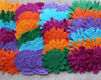 Summer Solstice - Flower Power Pack - 180 Die Cut Wool Blend Felt Flowers
