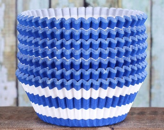 Royal Blue Striped Cupcake Liners, Blue Cupcake Wrappers, Blue Cupcake Cases, Stay Bright Greaseproof Cupcake Liners, Blue Baking Cups (50)