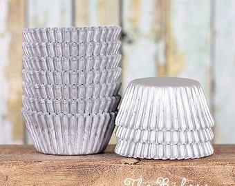 MINI Matte Silver Cupcake Liners, Mini Silver Treat Cups, Mini Silver Candy Cups, MIni Wedding Cupcake Liners, Truffle Cups (100)