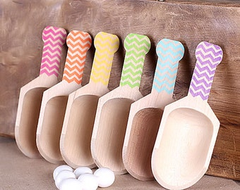 "Small Chevron Wooden Candy Scoops, GIRLS Rainbow Chevron Candy Scoops, Stamped Candy Buffet Scoops, Toppings Scoops (4"" - 6ct) Ready to Ship"