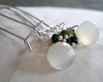 Dew Drop Earrings- White Moonstone, Green Tourmaline, Sterling Silver