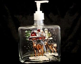 Hand-Painted Glass Soap Dispenser -  2 Deer in Snow Item 634