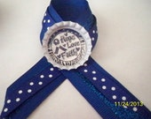 Colon Cancer Awareness Bottlecap Ribbon Pins or Tie tacs  Two sayings You choose