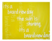 "8'x10"" Song Lyrics Print // Joshua Radin song, Brand New Day // Wedding Song. Engagement Gift. Bright Yellow Art Decor"