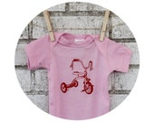 Baby Onepiece Bodysuit Screenprinted With a Red Tricycle, Light Pink, Pastel, Baby Girl, Shower Gift, Hand Printed, Short Sleeved, Trike