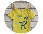 "Dinosaur One Piece Baby Bodysuit, ""RAWR""  Velociraptor Infant Creeper, Cotton Baby Snapsuit, Yellow, Baby Shower Gift, Hand Printed tshirt"